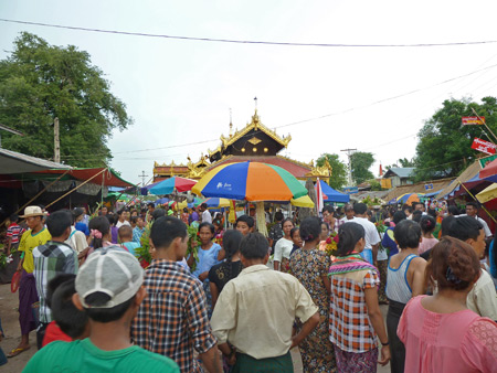 A teeming crowd at the Nat Pwe in Taungbyone, Myanmar.