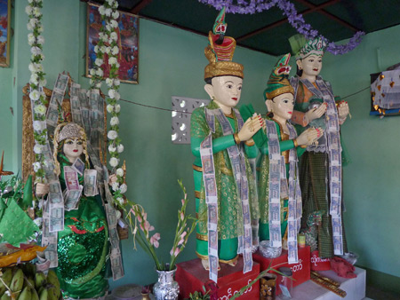 A nat shrine at the Nat Pwe in Taungbyone, Myanmar.