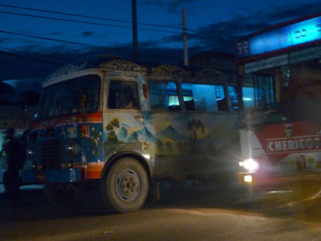 A colorful bus in Yangon, Myanmar.