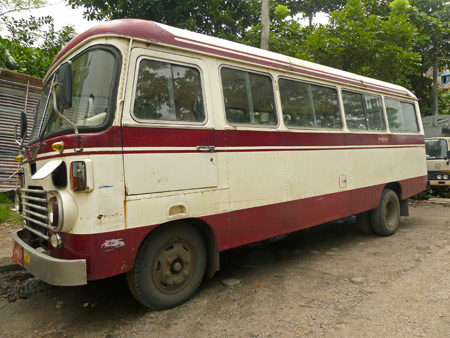 The Motherland Inn II airport shuttle bus in Yangon, Myanmar.