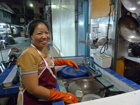 This lady who works at May Kaidee's always beams the nicest smile in Banglamphu, Bangkok, Thailand.
