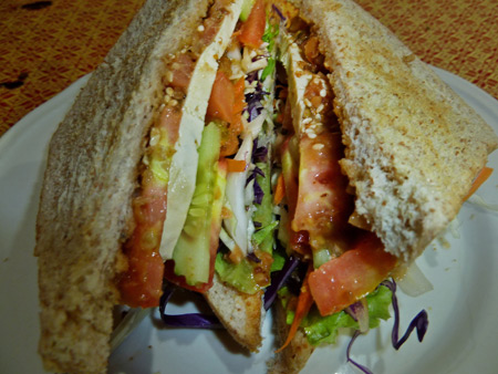 A sandwich at May Kaidee's in Banglamphu, Bangkok, Thailand.