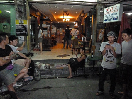 A typical scene in front of the Nat 2 Guesthouse in Banglamphu, Bangkok, Thailand.