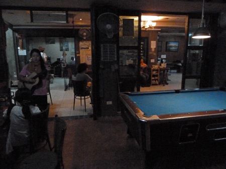 Inside the chill-out room of the Nat 2 Guesthouse in Banglamphu, Bangkok, Thailand.