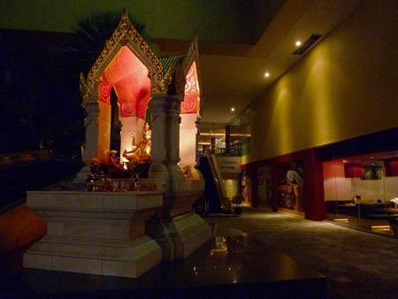 A Thai spirit house in Silom, Bangkok, Thailand.