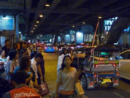 Tuk-tuk traffic at Siam Square in Bangkok, Thailand.