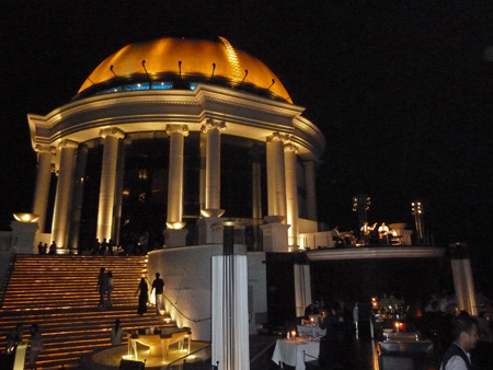 Looking toward the Sirocco restaurant on top of the 64-story State Tower in Bangkok, Thailand.