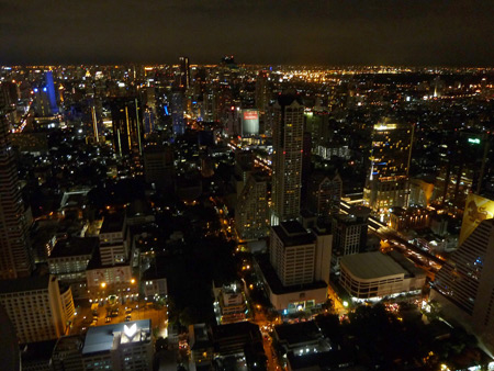 A nice view of Bangkok, Thailand from the SkyBar on the 64th floor of the State Tower.
