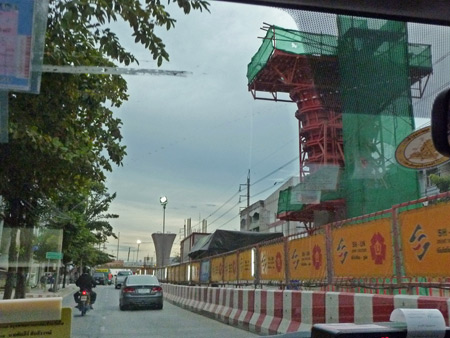 A new line of the SkyTrain under construction on Thanon Charan Santiwong in Bangkok, Thailand.