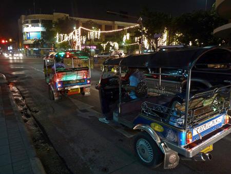 Tuk-tuk traffic in Banglamphu, Bangkok, Thailand.