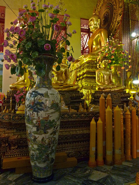 The large Buddha image at Wat Chanasongkhram in Banglamphu, Bangkok, Thailand.