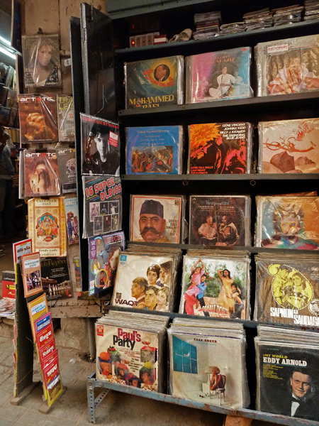 Vinyl for sale at a bookstore on Free School Street in Kolkata, India.