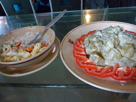 Potato salad at the Blue Sky Cafe in Kolkata, India.