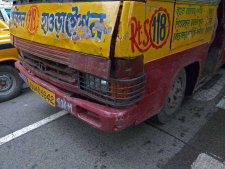 Close-up of a typical colorful bus in Kolkata, India.