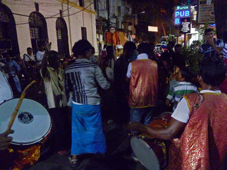 A group of drummers on Sudder Street  in Kolkata, India.