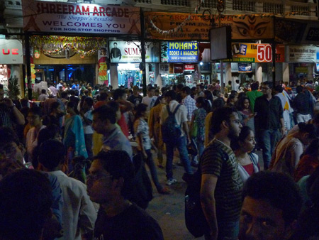 A seriously thick crowd shops on Lindsay Street in Kolkata, India for the upcoming Durga Puja festival.