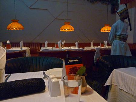 My umbrella and a waiter at Mocambo in Kolkata, India.