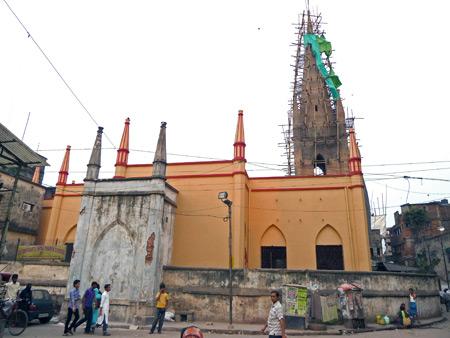 A church under renovation in Kolkata, India.