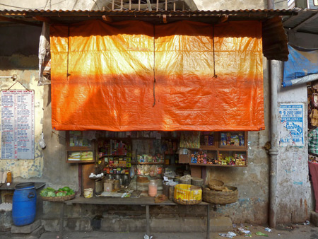 A snack stall off Sudder Street in Kolkata, India.