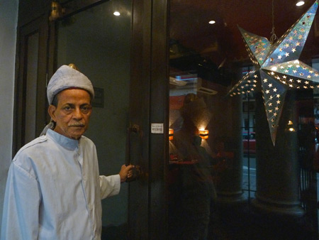 The dapper doorman at Peter Cat in Kolkata, India.