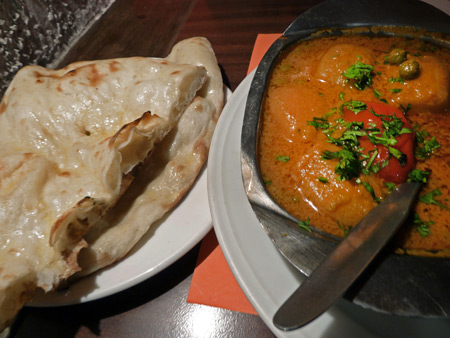 Aloo Mutter and naan at Peter Cat in Kolkata, India.