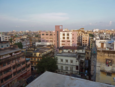 A small sliver of Kolkata, India as seen from the roof of the Sunflower Guest House.
