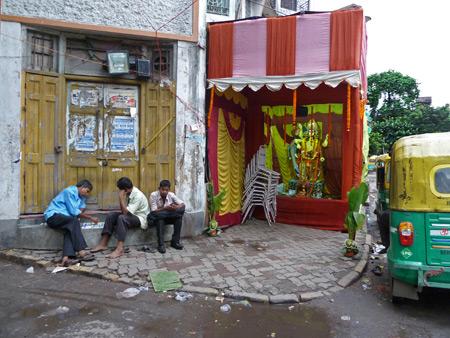 A small neighborhood Hindu shrine in Kolkata, India.