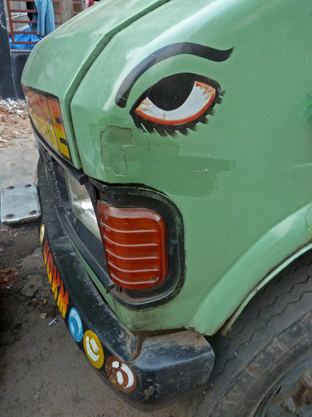 Eye see you, says a parked van on Royd Street in Kolkata, India.