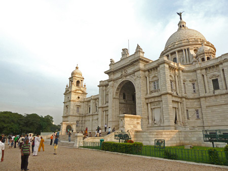 Victoria Memorial bathed in setting sunlight in Kolkata, India.