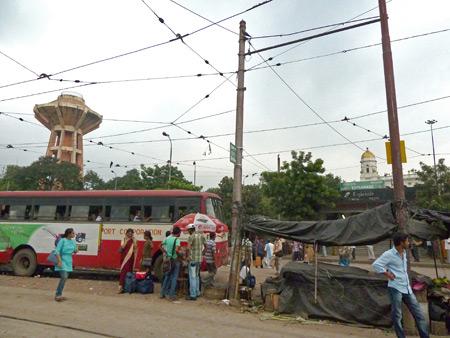 A weird water tower near the Esplanade bus station in Kolkata, India.