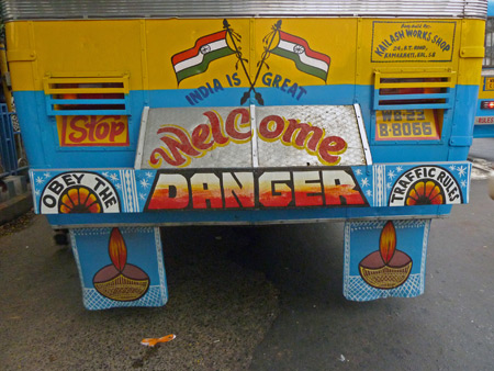 Apparently, danger is welcome at the Esplanade bus station in Kolkata, India.