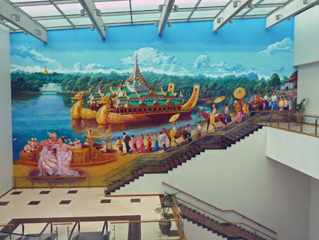 A beautiful mural at Yangon airport in Myanmar.