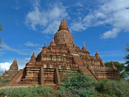The pyramid-like Buledi temple in Bagan, Myanmar.