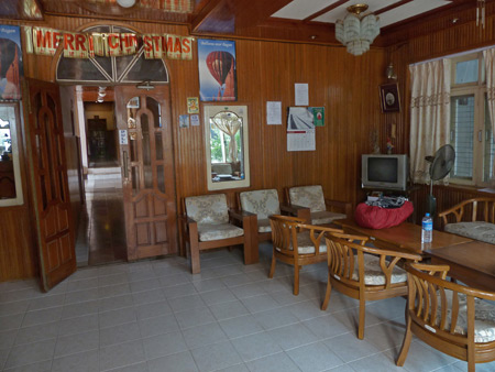 The lobby of May Kha Lar guest house in Nyaung-U, Myanmar.