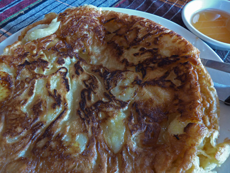 A nice, big, fluffy pancake for lunch at Swe Tha Har San in Nyaung-U, Myanmar.