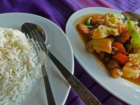 One last meal at Shwe Moe in Nyaung-U, Myanmar.
