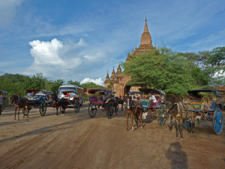 Horsecarts wait for scheduled tourists in front of Sulamani Pahto temple in Bagan, Myanmar.