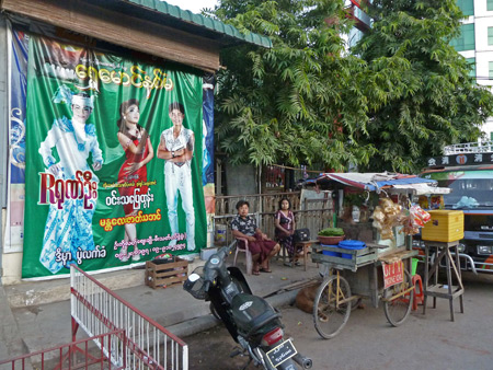 A market area closes up for the night in Mandalay, Myanmar.