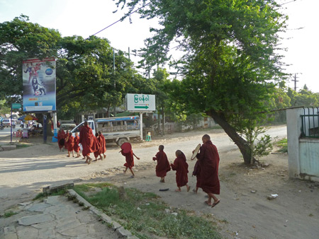 Buddhist monks on parade in Mandalay, Myanmar.