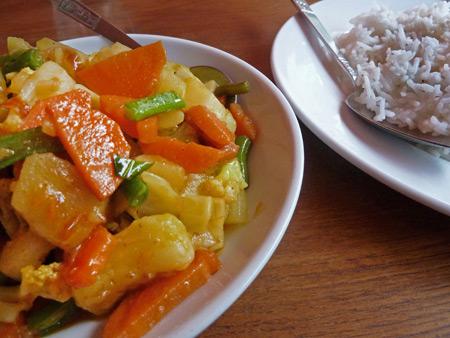 Vegetable curry at Marie Min in Mandalay, Myanmar.