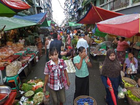 A side street market along Bogyoke Aung San road in Yangon, Myanmar.