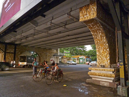 Myanmar's version of the golden arches support a bridge in Yangon.