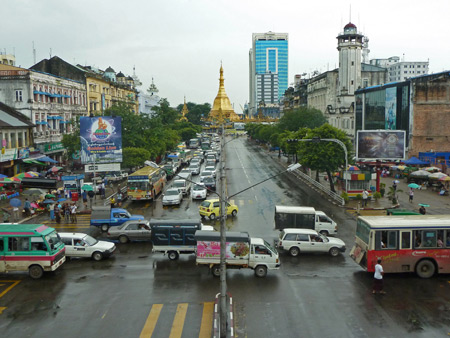 Sule Pagoda in the distance in Yangon, Myanmar.