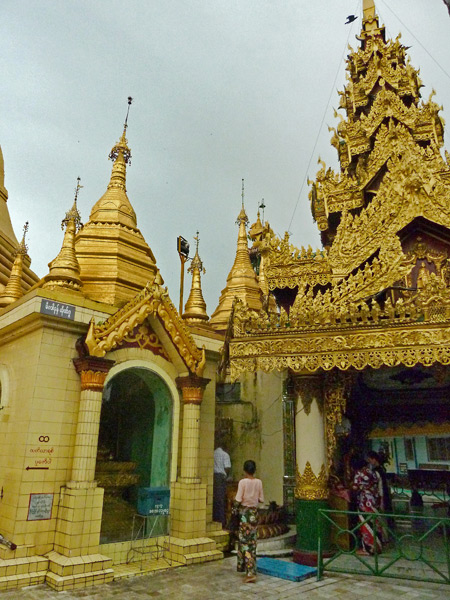 The golden-covered Sule Pagoda in Yangon, Myanmar.