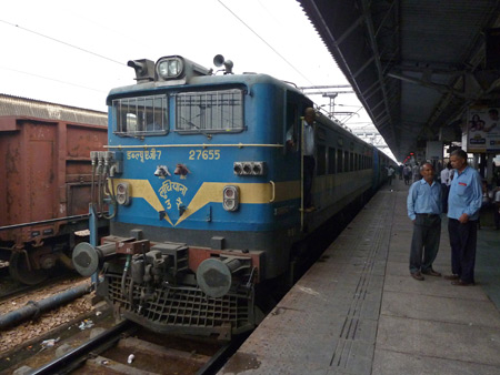 A locomotive at the Agra Cantonment train station in Agra, India.