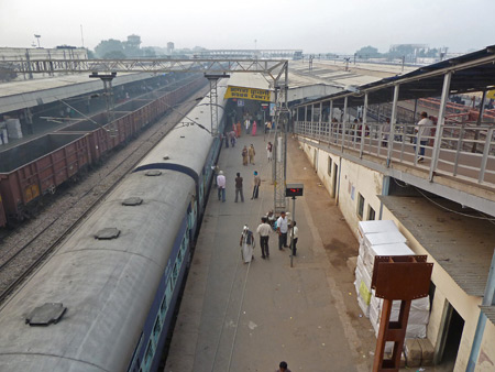 An overview of part of the Agra Cantonment train station in Agra, India.