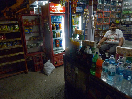 A snack shop across the street from the Hotel Kamal in Agra, India.