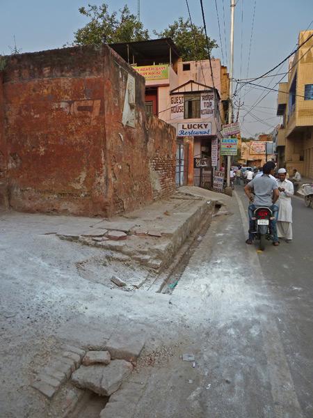 Remnants of a powder keg explosion in a back lane of Taj Ganj, Agra, India.