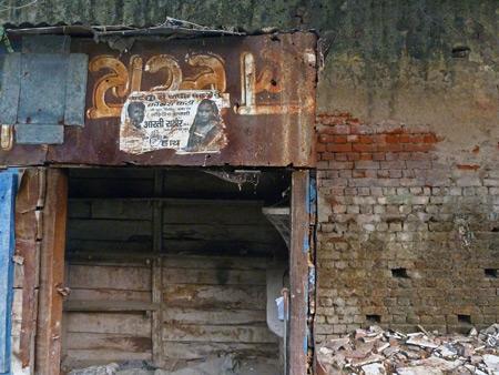 A rusty shack in a back lane in the Taj Ganj area of Agra, India.
