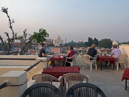 Stuff Makers cafe on the rooftop of the Hotel Kamal in Agra, India.